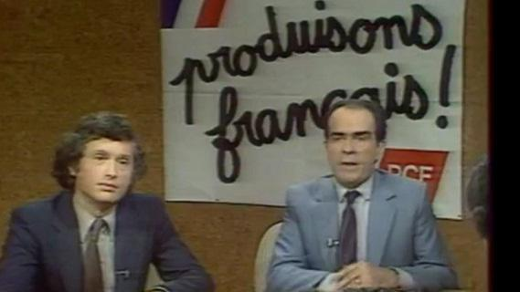 L'économiste Philippe Herzog et le candidat PCF à la présidentielle Georges Marchais, le 14 avril 1981.