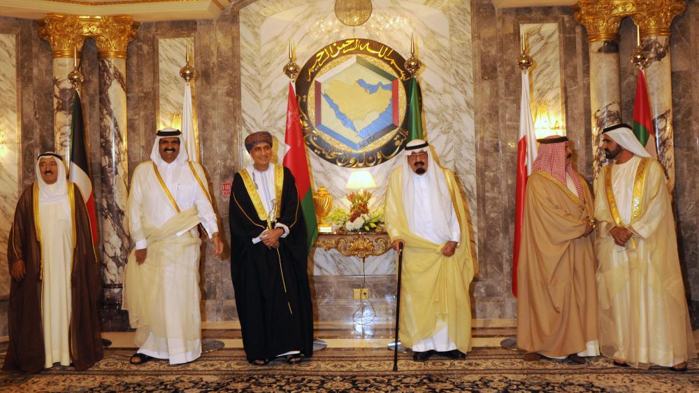 Les dirigeants arabes du Conseil de coopération des États arabes du Golfe, lors d'un sommet le 10 mai 2011 à Riyad (Arabie Saoudite).