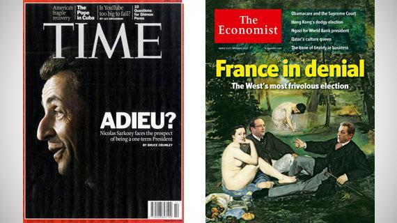 """Pour l'hebdomadaire américain """"Time"""" du 2 avril 2012, Nicolas Sarkozy est en sursis. Et selon l'hebdo britannique """"The Economist"""" du 31 mars 2012, la France est """"dans le déni""""."""
