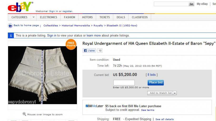 la culotte d 39 elizabeth ii aux ench res sur ebay. Black Bedroom Furniture Sets. Home Design Ideas