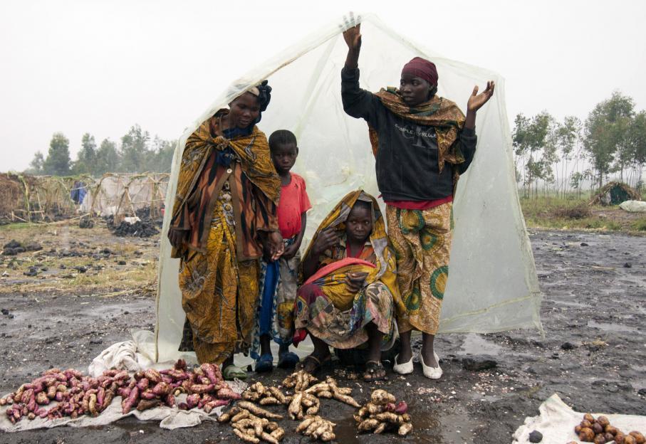 Au camp de réfugiés de Kibati, des femmes vendent sous la pluie des patates douces et du manioc. La nourriture manque. Les récoltes dans la région des combats autour de Goma sont interrompues depuis le début des affrontements. Les rebelles interdisent aux paysans d'aller dans les champs. Quelque 250 000 personnes ont fui les combats qui opposent le M23 et l'armée congolaise. La majorité est allée au Rwanda et en Ouganda voisins. A Goma, ils sont 30 à 40 000 réfugiés.