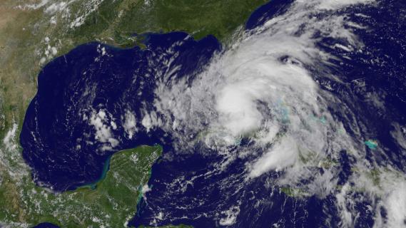 Une image satellite de la tempête tropicale Isaac, le 26 août 2012, lors de son passage sur la Floride.