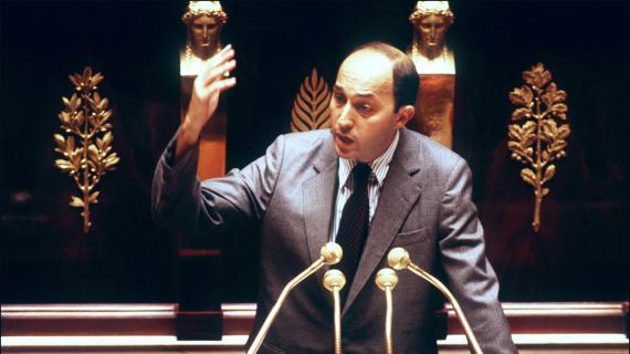 Le nouveau Premier ministre Laurent Fabius adresse sa déclaration de politique générale aux députés le 24 juillet 1984 à l'Assemblée nationale à Paris.