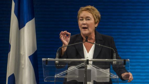 Pauline Marois, la nouvelle Première ministre du Québec, lors de son discours à Montréal, le 4 septembre 2012.