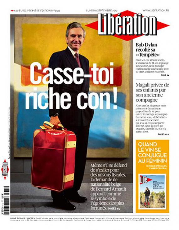 Une de Libération le lundi 10 septembre 2012.