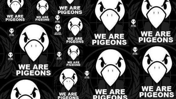 """La bannière des Pigeons détourne le graphisme et le slogan des Anonymous, """"We are legion""""."""