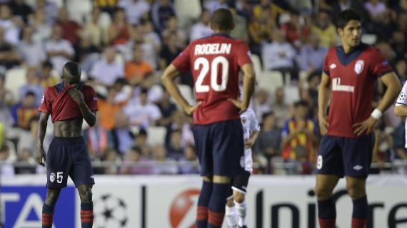 La déception des joueurs lillois après leur défaite 2-0 contre Valence en Espagne, le 2 octobre 2012.