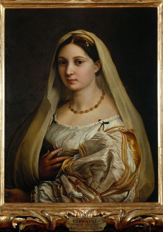 """""""Femme au voile"""", dit """"La Velata"""", Raphaël (vers 1512-1518). Huile sur toile,82 x 60,5 cm. Florence, Galerie Palatine, palaisPitti."""