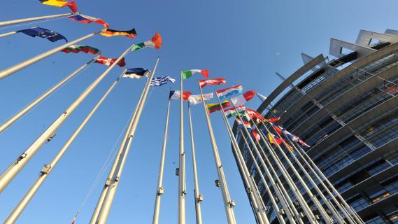 La façade du Parlement européen de Strasbourg, en janvier 2012.