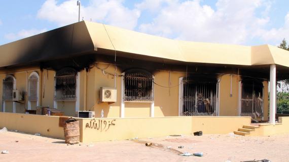 Un bâtiment appartenant au consulat américain de Benghazi (Libye), le 12 septembre 2012, au lendemain de l'attaque qui a fait quatre victimes.