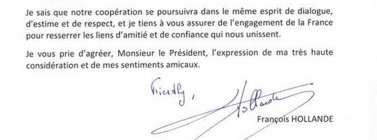 formule de politesse en fin de lettre en anglais Lettre de Hollande à Obama : la faute d'anglais qui amuse les réseaux formule de politesse en fin de lettre en anglais