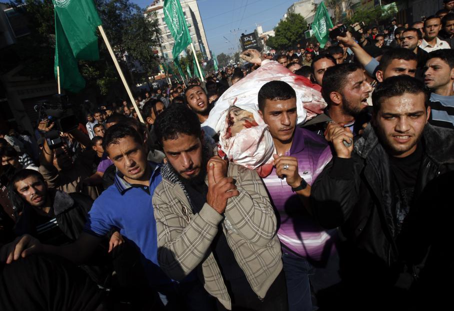Les funérailles d'Ahmad Jaabari, chef des opérations militaires du Hamas, le 15 novembre 2012 à Gaza.