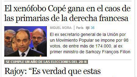 La une du site du quotidien espagnol El País, le 20 novembre 2012.