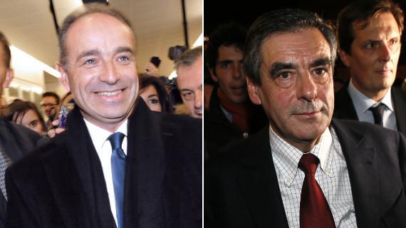 Les deux candidats  la prsidence de l'UMP, Jean-Franois Cop et Franois Fillon, le 18 novembre 2012  Paris.