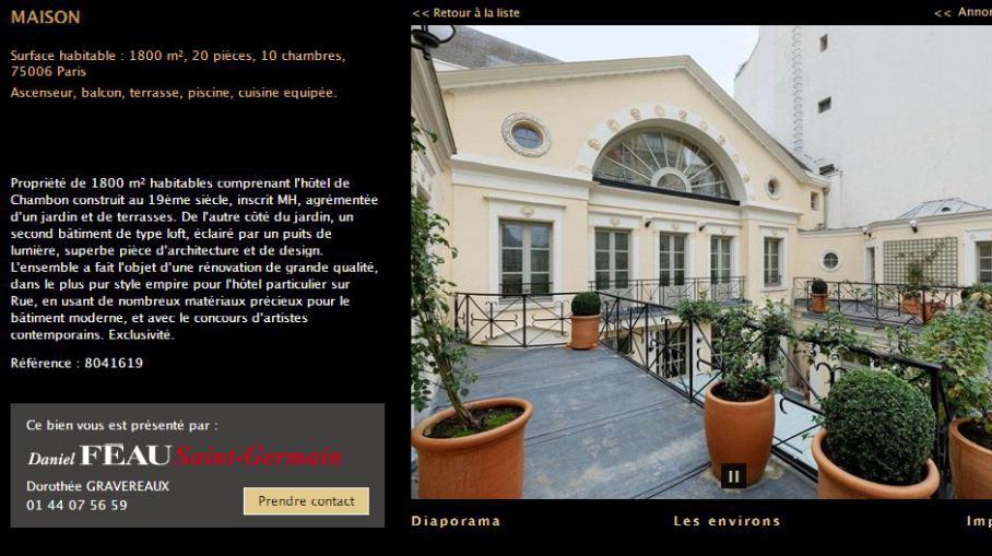 g rard depardieu a mis en vente son h tel particulier. Black Bedroom Furniture Sets. Home Design Ideas