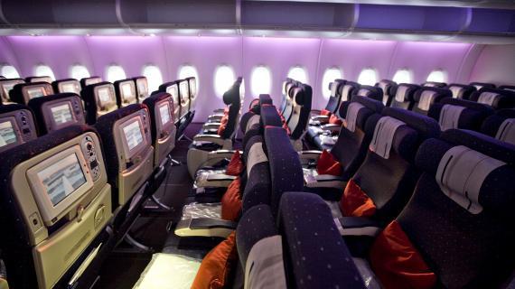 Video bienvenue bord de l 39 a380 paris new york for Avion airbus a380 interieur