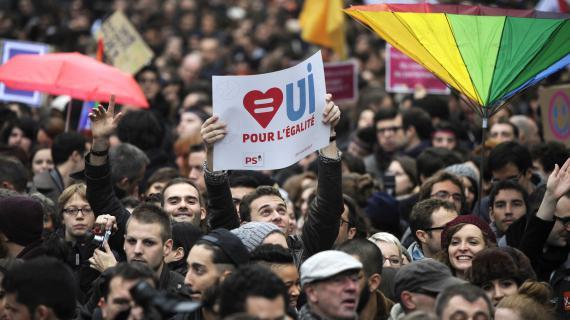 Une manifestation en faveur du mariage des homosexuels, le 16 décembre 2012, à Paris.