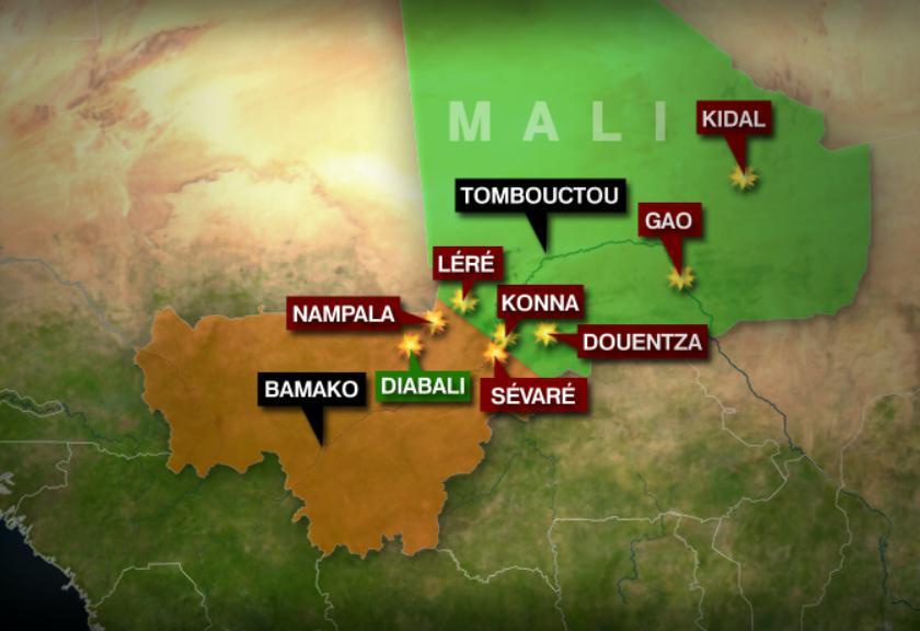 Infographie des combats entre l'armée française et les groupes islamistes armées au Mali.