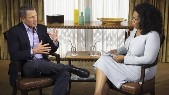 Lance Armstrong lors de l'enregistrement de l'émission d'Oprah Winfrey, le 14 janvier 2013.