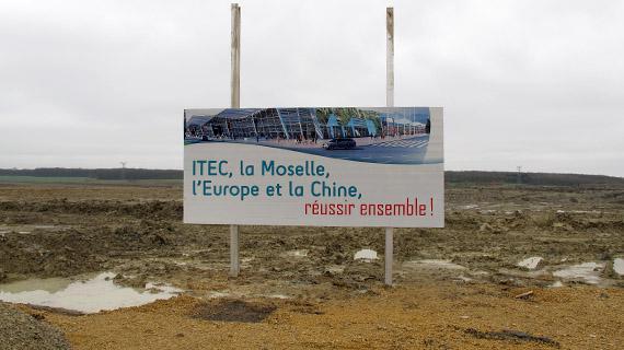 Le chantier du centre d'affaires franco-chinois d'Illange (Moselle), le 9 janvier 2013.