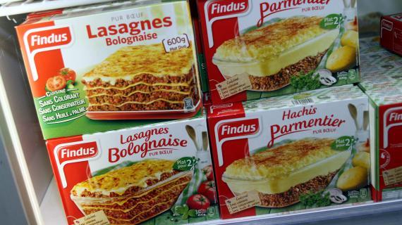 Findus France a retiré des lasagnes, de lamoussaka, ou encore du hachis parmentiersusceptibles de contenir de la viande de cheval le 8 février 2013.Sept enseignes de la grande distribution ont fait de même deux jours après.