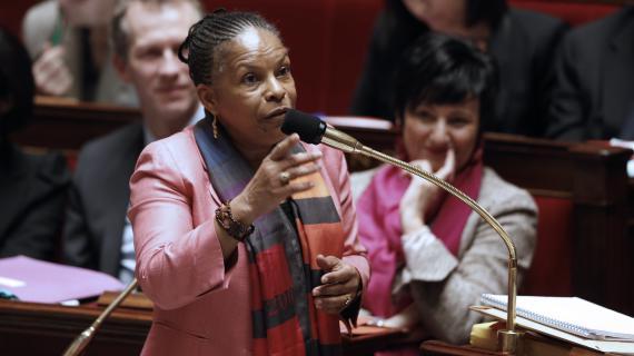 La ministre de la Justice, Christiane Taubira, défend le projet de loi sur le mariage pour tous à l'Assemblée nationale, le 5 février 2013.