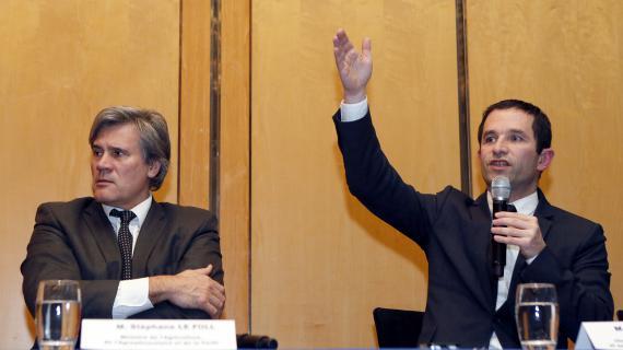 Stéphane Le Foll, le ministre de l'Agriculture, etBenoît Hamon, le ministre de la Consommation (à droite), ont tenuune conférence de presse à l'issue de la réunion de crise à Bercy sur le scandale de la viande de cheval, lundi 11 février 2013.