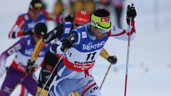 Le Français Jason Lamy-Chappuis lors de l'épreuve du 10 km de ski de fond, vendredi 22 février à Cavalese (Italie).