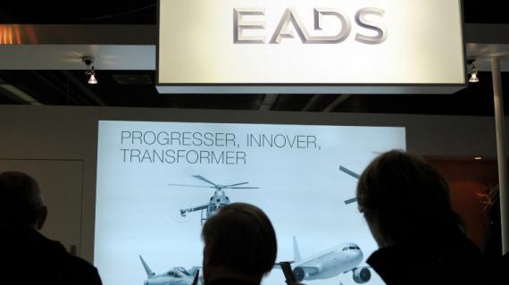 Un stand d'EADS durant un évènement réservé aux actionnaires le 23 novembre 2012 à Paris.