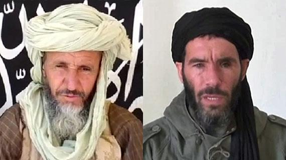 Photo-montage de captures d'écran de vidéos sur lesquelles apparaîssent Abdel Hamid Abou Zeid (G), un des chefs d'Al-Qaïda au Maghreb islamique (Aqmi) etMokhtar Belmokhtar (D), chef du groupe jihadiste responsable de la prise d'otages d'In Amenas (Algérie).