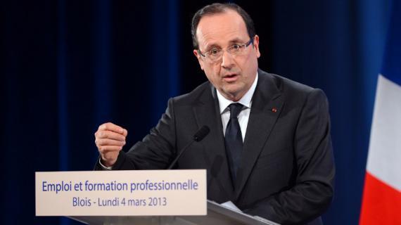 Le chef de l'Etat, François Hollande, lors de son discours sur la formation professionnelle, à Blois (Loir-et-Cher), le 4 mars 2013.