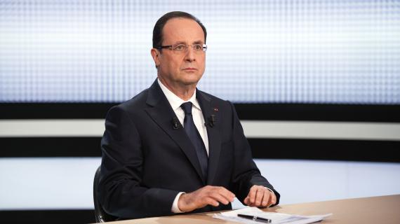 François Hollande sur le plateau de France 2, à Paris, le 28 mars 2013.