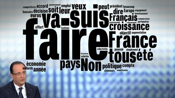 Qu'a dit François Hollande jeudi 28 mars 2013 sur France 2 ? Voici les mots qu'il a prononcés le plus grand nombre de fois.