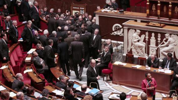 La ministre de la Justice, Christiane Taubira, à l'Assemblée, lors de l'examen du projet de loi sur le mariage pour tous, le 12 février 2013.