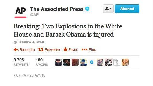 Capture d'écran du compte Twitter de l'agence AP, piraté, qui annonce une double explosion à la Maison Blanche, le 23 avril 2013.