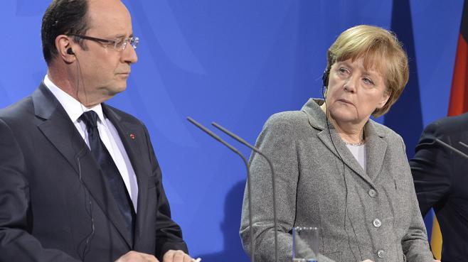 François Hollande et Angela Merkel, le 18 mars 2013 à la chancellerie allemande, à Berlin.