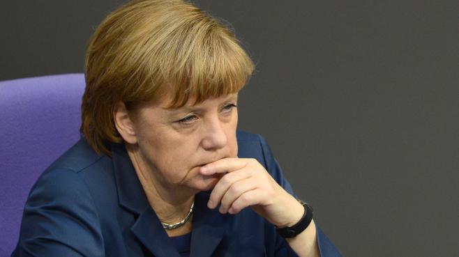 Angela Merkel, le 18 avril 2013 au Parlement allemand, à Berlin.