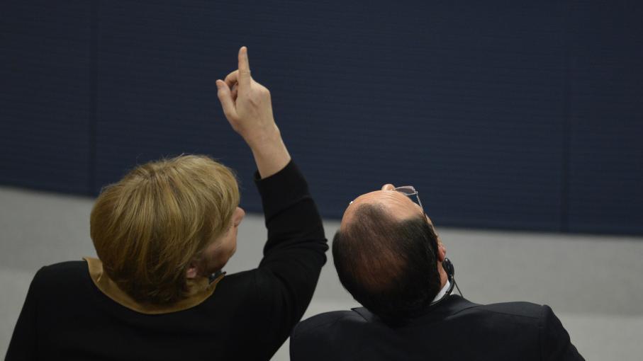 Angela Merkel et François Hollande lors de la célébration des 50 ans du traité franco-allemand à Berlin,le 22 janvier 2013.