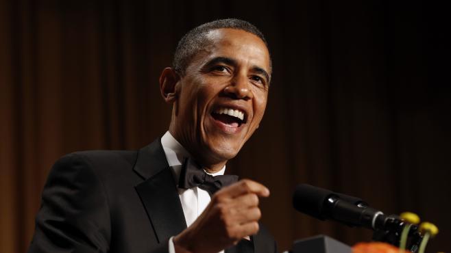 Le président américain Barack Obama au dîner des correspondants de la Maison Blanche, le 27 avril 2013 à Washington (Etats-Unis).
