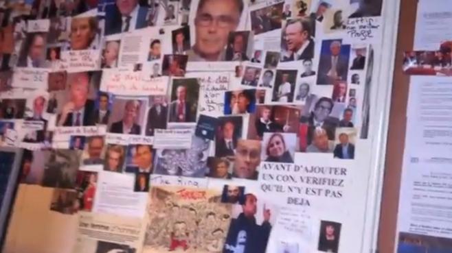 """Capture d'écran de la vidéo montrant le """"mur des cons"""" affiché dans les locaux parisiens du Syndicat de la magistrature, publiée mardi 23 avril 2013, sur le site Atlantico.fr."""