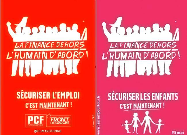 Un montage de l'association Stop Homophobie montre les similitudes entre une affiche du Front de gauche et uneautre du collectif La Manif pour tous.
