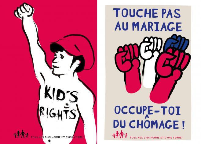 Montage de quelques-unes des affiches proposées par le collectif La Manif pour tous.