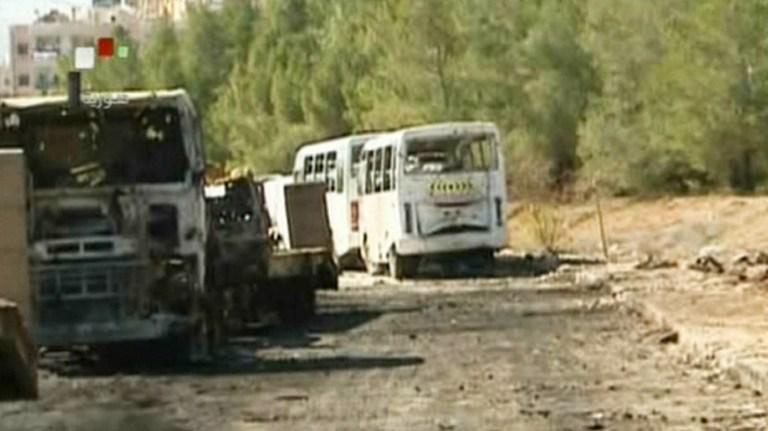 Le centre de recherche de Jamraye, près de Damas, en Syrie, filmé par la télévision officielle, le 2 février 2013. Il avait été visé par l'armée israélienne, le 29 janvier 2013.