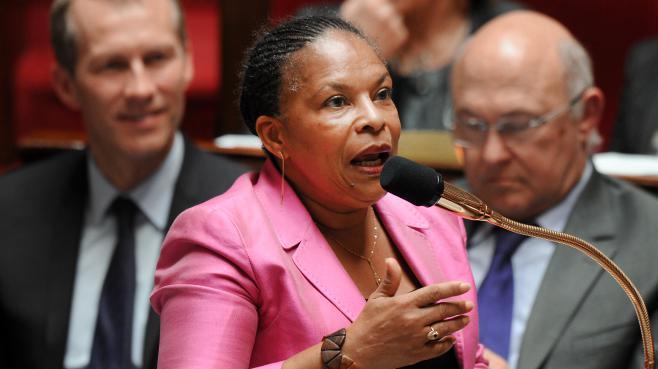 La ministre de la Justice, Christiane Taubira, le 24 avril 2013 à l'Assemblée.