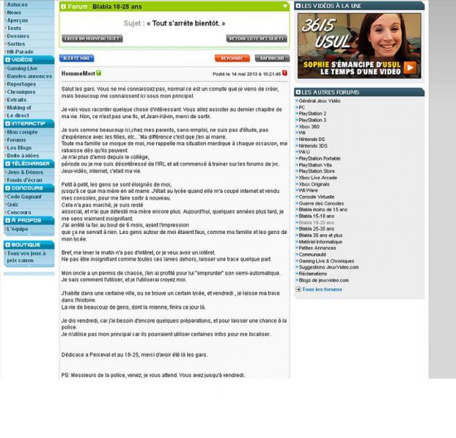 """Capture d'écran du forum de jeux vidéo sur lequel un internaute a menacé de commettre """"un massacre"""" dans un lycée du Bas-Rhin, le 17 mais 2013."""