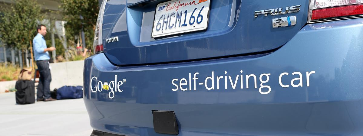 Présentation d'une Google Car sans conducteur, le 25 septembre 2012, à Mountain View (Californie).