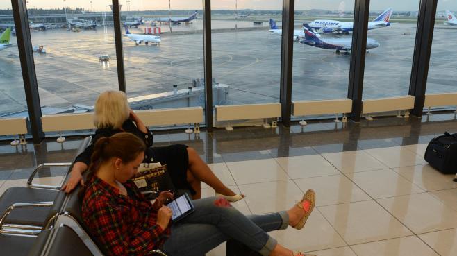 Dans la zone de transit où se trouverait Edward Snowden, à l'aéroport deMoscou, le 26 juin 2013.
