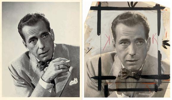 """Photo d'Humphrey Bogart pour le film """"Knock on Any Door"""" (""""Les Ruelles du malheur""""), produit en 1949. Recadrage à la gouache noire et au crayon orange, contour des yeux renforcé, arrière-plan recouvert de peinture grise, etc. La main tenant la cigarette et les volutes de fumée ont été effacées."""