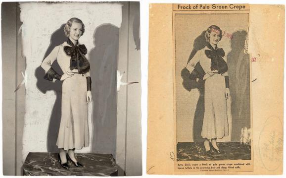 L'actrice Bette Davis en 1932. En arrière-plan, le décor est masqué par un fond uni. Un double effet d'ombre est recréé de manière très artificielle, dans deux teintes de gris.