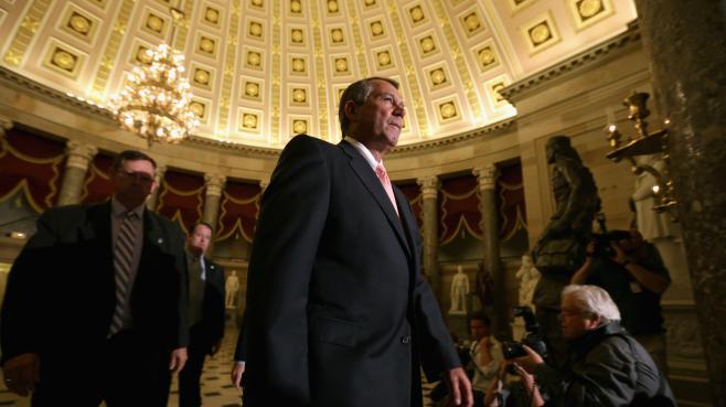 John Boehner, chef de file des républicains à la Chambre des représentants américaine, groupe à l'origine du blocage budgétaire qui a entrainé la cessation des activités de l'administration fédérale, mardi 1er octobre 2013 à Washington (Etats-Unis).